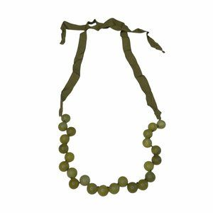 J. Crew Ribbon Necklace Round Beads Jade Green Marble Grosgrain Tie Bow